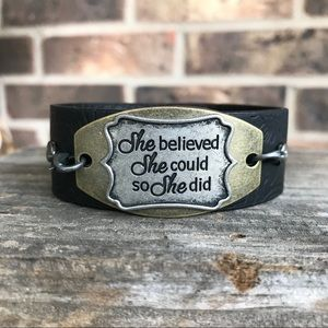 She believed she could bracelet cuff faux leather